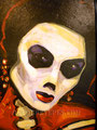 "Dia de Los Muertos Series ©1988, Acrylic on Canvas, Dimensions 24"" w x 30"" h, Private Collection"