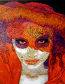 """Red Cantrina ©2010, Acrylic on Canvas, Dimensions 16"""" w x 20"""" h"""