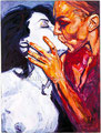 """Amor Matizado ©1991, Acrylic on Canvas, Dimensions 36"""" w x 48"""" h, Private Collection"""