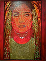 "Red Madonna: Portrait of Salma Hayek ©2006, Acrylic & Gold Leaf on Canvas, Dimensions 60"" w x 96"" h, Robert Rodriguez Collection"