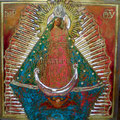 "Madonna Retablo III ©2010, Acrylic on Wood, Dimensions 22"" w x 22"" h, Private Collection"