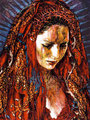 """Dragon Madonna ©2000, Acrylic on Canvas, Dimensions 35"""" w x 45"""" h, Private Collection"""