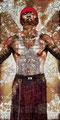 """Angel II ©2009, Acrylic, Gold, Copper & Silver Leaf on Wood, Dimensions 36"""" w x 72"""" h"""