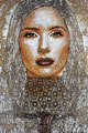 "White Madonna: Portrait of Salma Hayek ©2006, Acrylic on Canvas, Dimensions 48"" w x 72"" h, Private Collection"