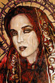 """Red Magdalena ©1998, Acrylic on Canvas, Dimensions 24"""" w x 30"""" h, Private Collection"""