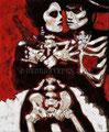 "La Pistola y El Corazon: 20th Anniversary III ©2008, Acrylic on Canvas, Dimensions 21"" w x 27"" h, Private Collection"