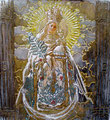 "Madonna Retablo II ©2010, Acrylic on Wood, Dimensions 18"" w x 19"" h, Private Collection"