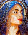 "Dolorosa Azul ©2012, Acrylic on Canvas, Dimensions 16"" w x 20"" h, Private Collection"