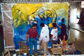 "Academia de Arte Yepes students painting the ""Indoor Hockey"" Youth Center Mural • Los Angeles, CA  USA"