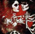 "La Pistola y El Corazon: 20th Anniversary II ©2008, Acrylic on Canvas, Dimensions 21"" w x 26"" h, Private Collection"