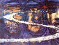 "Box Car ©1989, Acrylic on Paper, Dimensions 39"" w x 25"" h"