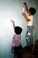 "Academia de Arte Yepes students painting the ""Elementary School Dinosaur"" Mural • Los Angeles, CA  USA"