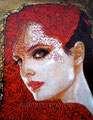 """Catrina II ©2010, Acrylic on Canvas, Dimensions 22"""" w x 28"""" h, Private Collection"""