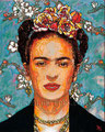 """Blue Frida ©2009, Acrylic on Canvas, Dimensions 16"""" w x 20"""" h, Private Collection"""