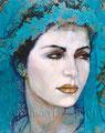 "Novia Azul ©2000, Acrylic on Canvas, Dimensions 24"" w x 35"" h, Private Collection"