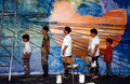 "Academia de Arte Yepes students painting the Saturn ""Cassini"" Mural for NASA •Los Angeles, CA  USA"