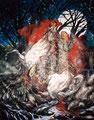 "Bodas de Sangre ©1998, Acrylic on Canvas, Dimensions 96"" w x 96"" h"