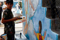 "Academia de Arte Yepes students painting the ""Saint Alphonsus Grammar School"" Murals • Los Angeles, CA  USA"
