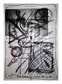 """""""o. T."""" / Werkverzeichnis 2.016 / Datiert 03.04.99 / Textilfarbe schwarz auf Zeitungsblatt / Maße b 40,0 cm * h 56,0 cm"""