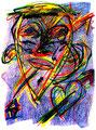 """""""Harlekin """"Alex I"""" Isny, 10.11.1991 Werkverzeichnis 204 Kreide und Kohle auf Papier b 31,8 cm * h 47,0 cm Hochwassergeschädigt 1997 Bild 1 einer Serie von 6 Bildern"""