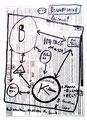 """""""Bewußtsein"""" WVZ 1.603 / datiert 09.07.98 / Filzstift auf Zeitungsblatt (1/2) """"Die Zeit"""" vom 09.07.98 / Maße b 28,3 cm * h 39,2 cm"""