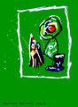 """""""Gefangen in Unschuld"""" / WVZ 1.908 / datiert Boddin, 13.02.99 / diverse Farben auf grünem Papier / Maße b 46,0 cm * h 65,0 cm"""