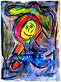 """""""Harlekin """"Alex VI"""" Isny, 10.11.1991 Werkverzeichnis 209 Kreide, Tinte und Kohle auf Papier b 31,8 cm * h 47,0 cm Hochwassergeschädigt 1997 Bild 6 einer Serie von 6 Bildern"""