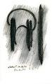"""""""Wohin?"""" / WVZ 1.187, datiert 10.12.96 / Kohle und Filzstift auf Bütten / Maße b 10,0 cm * h 16,0 cm"""