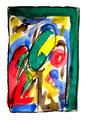 """""""Lassy III"""" / 17.12.1994 Werkverzeichnis 444, Aquarell, Kreiden und Graphit auf Papier, b 30,0 cm * h 40,0 cm"""