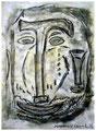 """""""Angstbewältigung"""" Isny, den 04.11.91, Werkverzeichnis 195, Kreide, Lacke und Kohle auf Papier, b 24,0 cm x h 33,0 cm"""
