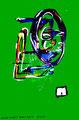 """""""Mit weißer Unschuld I"""" / WVZ 1.909 / datiert Boddin, 13.02.99 / diverse Farben auf grünem Papier / Maße b 46,0 cm * h 65,0 cm"""