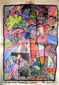 """""""Ich habe fertig!"""" Werkverzeichnis 2.017 / Farbzeichnung mit Textilfarbe auf FAZ (Feuilleton) Zeitung vom 03.04.99 / Maße b 40,0 cm * h 56,0 cm"""