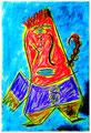 """""""Harlekin """"Alex III"""" Isny, 10.11.1991 Werkverzeichnis 206 Kreide, Tinte und Kohle auf Papier b 31,8 cm * h 47,0 cm Hochwassergeschädigt 1997 Bild 3 einer Serie von 6 Bildern"""