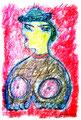 """""""Büste"""" Isny, den 10.11.91, Werkverzeichnis 203, Kreide und Kohle auf Papier, b 31,8 cm x h 47,0 cm."""