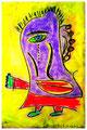 """""""Harlekin """"Alex II"""" Isny, 10.11.1991 Werkverzeichnis 205 Kreide, Tinte und Kohle auf Papier b 31,8 cm * h 47,0 cm Hochwassergeschädigt 1997 Bild 2 einer Serie von 6 Bildern"""