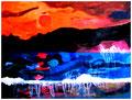 """""""Sonnenuntergang"""" Datiert 12/1986 - Werkverzeichnis 43 - Wasserschaden - Wasserfarben auf Papier - b 40,0 cm x h 30,0 cm"""