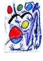 """""""Luftballons retten schwarzen, bedrohten Vogel"""" WVZ 914 / datiert 1.96 / Filzstift, Kohle und Aquarell auf Papier / Maße b 30,0 cm * h 40,0 cm"""