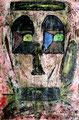 """""""Der Maler - An Picasso"""" Gestringen, 11.91 / ergänzt 8.92 (An Picasso), Werkverzeichnis 187, Tusche, Kreide, Lacke, Farben auf Papier auf Holz, b 42,0 cm x h 58,0 cm"""