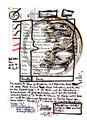 """""""Bewußtsein / Masse"""" WVZ 1.604 / datiert 10.07.98 / Filzstift auf Zeitungsblatt (1/2) """"Die Zeit"""" vom 09.07.98 / Maße b 28,3 cm * h 39,2 cm"""