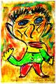 """""""Harlekin """"Alex V"""" Isny, 10.11.1991 Werkverzeichnis 208 Kreide, Tinte und Kohle auf Papier b 31,8 cm * h 47,0 cm Hochwassergeschädigt 1997 Bild 5 einer Serie von 6 Bildern"""
