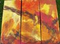 Schiff im Feuersturm   3x  80x30 cm  Triptychon