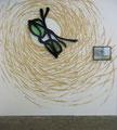 """Zwei Männer in Betrachtung des Mondes"" (Wandarbeit), Mischtechnik, 2010, ca. 275x270 cm"