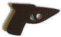 """""""Pistole"""", 2006, Sperrholz durchbrochen und Ölfarbe, 22x40 cm"""