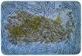 """Tischset """"Rembrandt"""", 2000, Kaltnadelradierung auf Kunststofunterlage, Kupferdruckfarbe, Nudeln Buchstaben"""