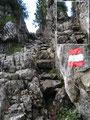 Ein kurzes Stück weiter wartete schon die nächste Schlüsselstelle auf uns. Diesmal war es eine seilversicherte Felsrinne, die ebenfalls recht harmlose war – nur die Felsstufen waren ziemlich abgespeckt, nass und rutschig.