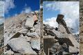 Die Schneide hin zur Gipfelpyramide stellte sich mehr und mehr auf. In leichter Blockkletterei wurden in diesem Bereich die Hände zur Absicherung des Anstiegs benötigt.