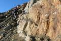 … an welcher kurze Seilversicherungen das Weiterkommen erleichterten. Für erfahrene Berggeher eher unnütz!