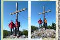 Die drei Gipfelstürmer beim Fotoshooting für das wie ich meine wichtigste Bild bei jeder Bergtour, das Gipfelkreuzfoto … und somit der Beweis das wir auch tatsächlich hier waren.