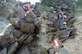 … zu überkraxelnden Felsstufen durch die Westflanke des Grenzberges talwärts leitete.