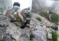 Noch einige kurze Kletterstellen warteten um überwunden zu werden, bevor man erneut auf einen sich nach oben schlängelnden Geröllsteig traf, dem wir folgten.